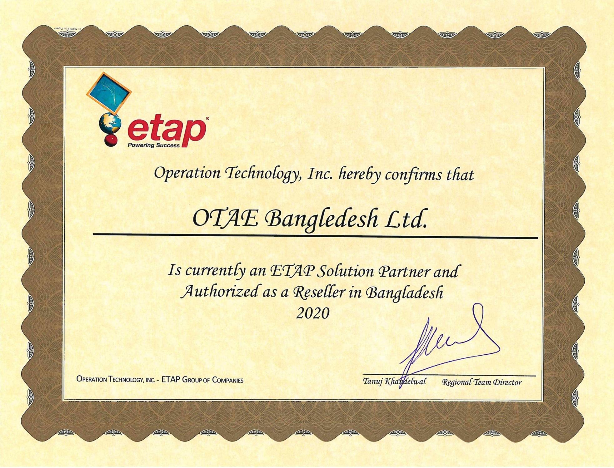 ETAP Reseller Certificate - Bangladesh 2020